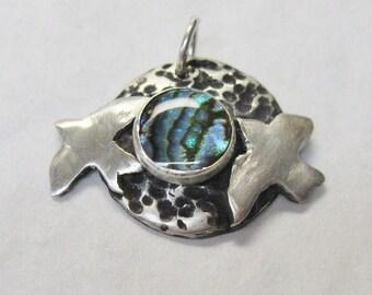 Sea Gulls paua shell pendant, Bird Pendant, blue bird, bird fetish, flight, spiritual jewelry, symbolic jewelry, gemstone jewelry