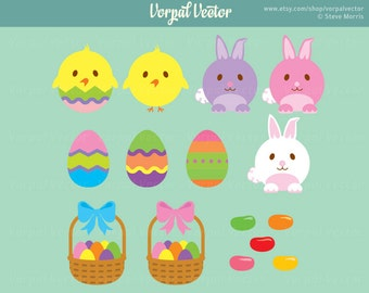 Easter Clip Art Set, Clipart, Easter Bunny, Easter Basket, Chick, Jelly Bean, Scrapbooking - Instant Download