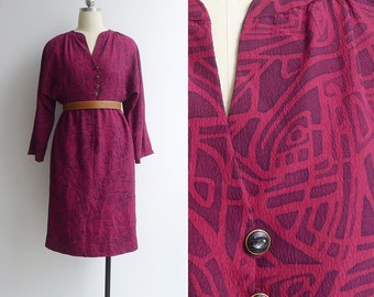 Vintage 80's Ruby Red Abstract Print Batwing Tulip Dress M or L