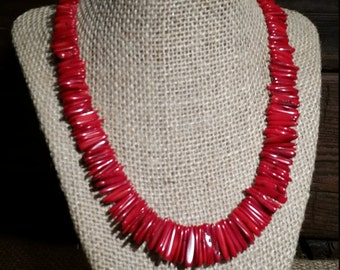 Graduated Red Bamboo Coral Necklace