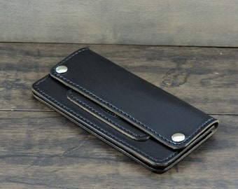 Trucker Wallet Horween Chromexcel leather black custom made to order.