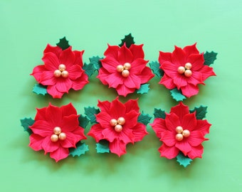 6 edible poinsettia fondant flowers cake cupcake toppers decorations green red gold christmas ornament