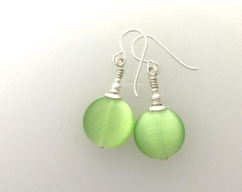 Lettuce Green and Sterling Silver Earrings