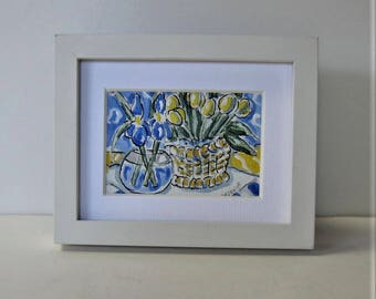 "Original framed acrylic still life painting, blue and yellow, 5"" x 4"", Iris and tulips, shabby white frame, gift idea"