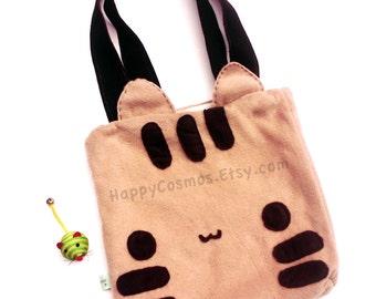 Striped Cat Tote Bag - Schoolbag, Backpack, Bookbag, Animal Tote Bag, Women's Tote,  Christmas Gift, Halloween Trick or Treat Bag