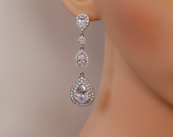 crystal drop earrings, gold or silver, custom bridal jewellery, stud, quinceanera, wedding, brides, mother  bride, Prom earrings