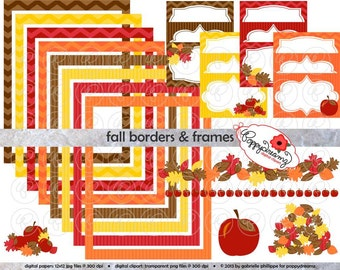 Fall Borders Frames & Labels: Clip Art Pack Card Making Digital Frames Page Borders Chevron Dots Stripes