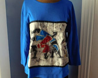 Upcycled Appliqued Long-Sleeved T-Shirt - Vintage Batik Ethnic Tribal Panel - Gently Worn Chico's Blue Tee - Recycled - OOAK Hand-Stitched