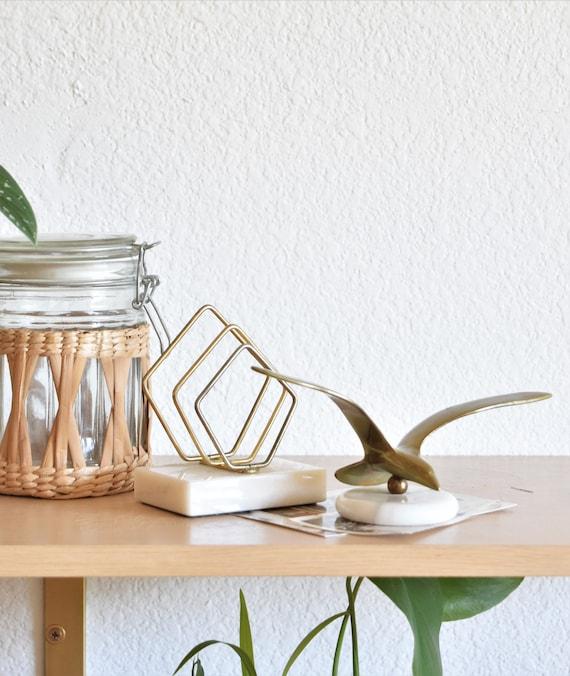 mid century marble solid brass minimalist sculpture office paperweight / desk top storage