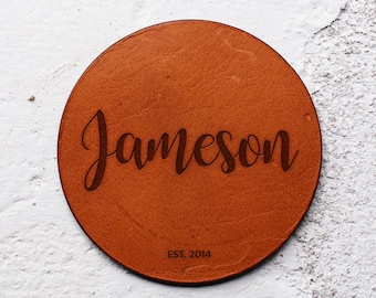 Personalised Leather coaster set, Newlywed gifts, Newlywed first Christmas, Best wedding gifts for couple, Gift Leather Anniversary gift
