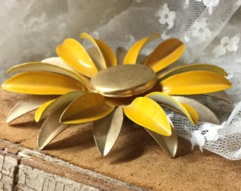 Sunny Large Yellow Gold Tone Flower Brooch Pin Unsigned 1960's 1970s' Daisy Aster Style Floral Design Multiple Petals Happy Gift for Her