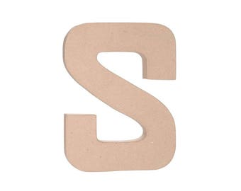 12 INCH Paper Mache Letter S - Cardboard Letters - Kids Crafts Party Decor Supplies
