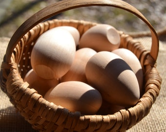 """Unfinished 2"""" Medium Wooden Eggs - Easter Special - One Dozen - Ready to paint and polish for Easter"""