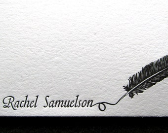 Custom Letterpress Stationery - 15 Personalized Notecards, Calligraphy Design 1