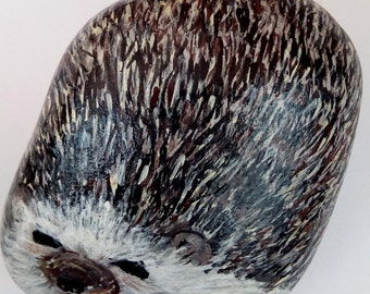 HEDGEHOG--Beautiful original one of a kind Acrylic painting on rock.