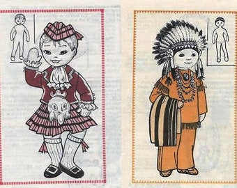 Two lot of National /Heritage doll with clothes sewing patterns