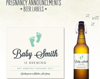 Pregnancy Announcement - Beer Bottle Label // Baby is BREWING (Personalized)