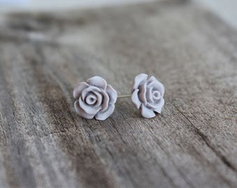 Pale Grey Rose Earrings.  Rose cabochon. Boho rose earrings. Gift for your loved one.
