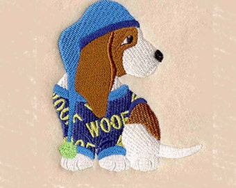 Basset Hound in PJs Tea Towel | Embroidered Kitchen Towel | Embroidered Towel | Dog Lovers Gifts | Personalized Kitchen Towels | Hand Towel