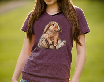 Fluffy Bunny T Shirt - Baby Animal Bunny Rabbit Tee - Velveteen Rabbit - Women's American Apparel T Shirt - Item 1043