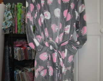 Dressing gown, night gown pink sheep, grey/Cap