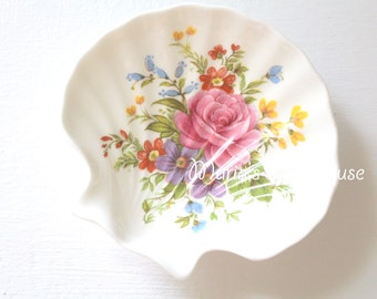 Vintage Clam Shaped Trinket Dish by Royal Stafford, English Fine Bone China, Tea Party, Vanity Decor, Gifts for Her