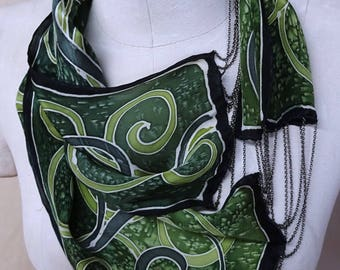 Forest Green Spirals - Hand Painted Silk Scarf Necklace - wearable art, statement necklace
