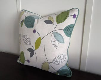 Retro Leaves Pillow Covers, Cotton Pillow Covers, 20x20, Large Flowers, Large Floral Print Pillow, Teal, Purple, Green, Blue