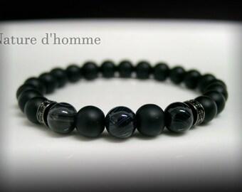 Bracelet matte black onyx and agate marbled Ref: BN-417