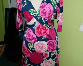Elegant Floral Print Flora Kung Silk Jersey Knit Dress