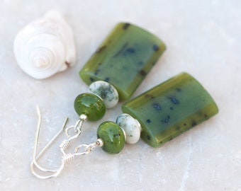 Moss Agate and Canadian Jade Earrings, Green Natural Stone Earrings, Sterling Silver Jewelry, Green and White Earrings, Rustic Earrings