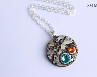Birthstone watch etsy mothers birthstone necklace steampunk necklace custom made mothers necklace grandmothers necklace birthstone necklace mozeypictures Choice Image