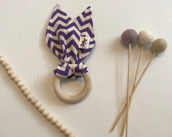 Fabric Teething Ring Purple Chevron