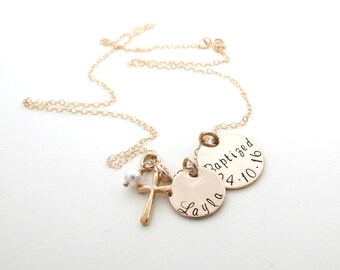 Personalized Baptism Necklace - Girls Cross Necklace - Custom Gold Name Necklace - First Communion Gift - Personalized Jewelry -Womens-Faith