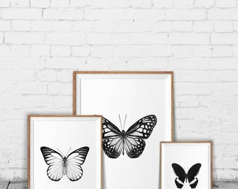 Butterfly print set - Monochrome decor - Minimalist home - Black and white wall art - Butterflies printable - Monochrome art prints