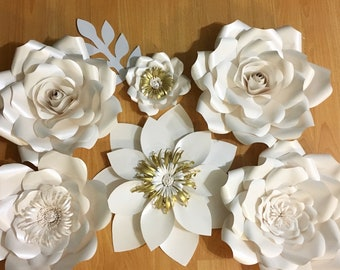 6 piece Ivory White + Gold Paper Flower