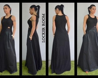 High Waisted Skirt, Maxi Skirt, Floor Length skirt, Long Skirt, A Line skirt, Black skirt, Skirt with pockets, Plus Size Skirt,Pleated Skirt