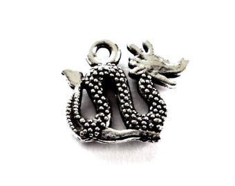 Sea Monster Charms, Sea Serpent Charms in Silver Tone Metal Sea Monster Charm, Sea Serpent Charm - Pack of Five