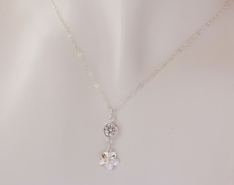Delicate Silver Plumeria Necklace, Frangipani Necklace, Hawaiian Necklace, Beach Wedding Necklace, Tropical Necklace, Bridesmaid Gift
