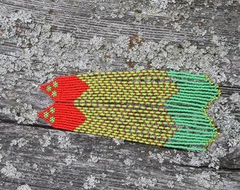 Native American Beaded Earrings long multicolor seed bead Earrings New 121
