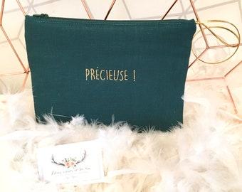 Customizable in forest green linen clutch bag