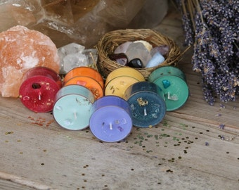 CHAKRA TEALIGHTS, for sacred work with your chakra's, root, sacral, solar plexus, heart, throat, third eye, crown