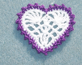 6 handmade crochet applique hearts in purple and white -- 1840