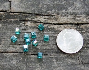4mm Chinese Crystal Cube Beads in Aqua Blue (10)
