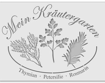 Wall stencil herb garden 1074