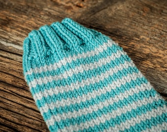 Knit baby leg warmers - blue with white or gray stripes