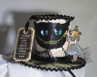 Halloween in Wonderland Cheshire Cat and Alice Fascinator Hat