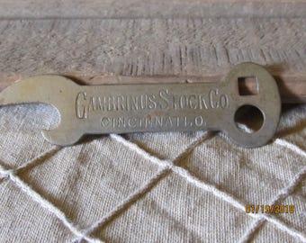 Vintage Gambrinus Stock Co Cincinnati Ohio Rare hard to find Beer Bottle Opener