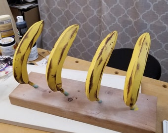One Yellow Hand-Carved and Painted Wooden Banana