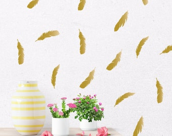 Gold feather decals, gold wall decal, gold wall stickers, feather wall decal, vinyl feathers, feather stickers, gold vinyl decals  #060